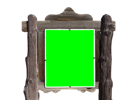 green screen: Rustic wild west message sign isolated on white with chroma green screen insert.