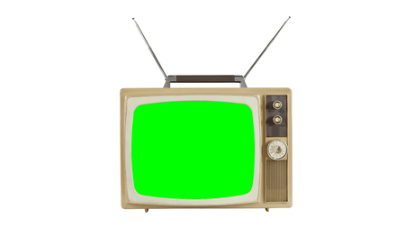Vintage television on white with antennas and chroma key green screen. Фото со стока