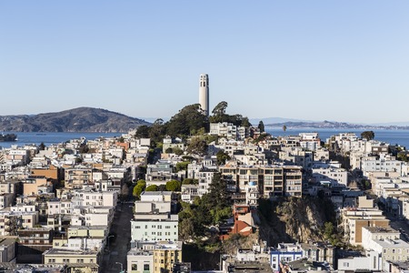 coit tower: San Francisco, California, USA - January 13, 2013:  Afternoon view of Coit tower and Telegraph Hill near downtown San Francisco. Editorial