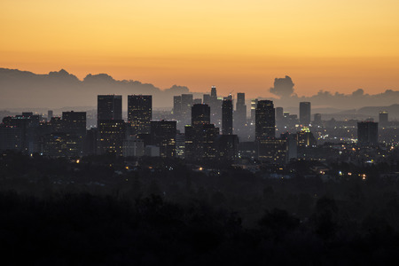 city skyline: Dusk view of Century City, Beverly Hills and Downtown Los Angeles