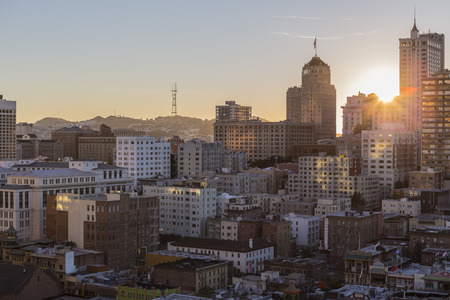 San Francisco, California, USA - January 13, 2013:  Sun setting behind Nob Hill near downtown San Francisco.