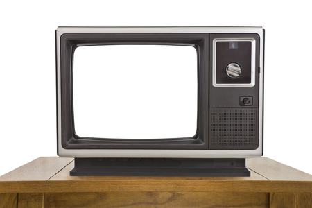 electronic 80s: Old television with cut out screen isolated on white. Stock Photo