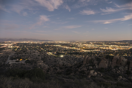 valley view: Dusk view of the West San Fernando Valley in Los Angeles, California.