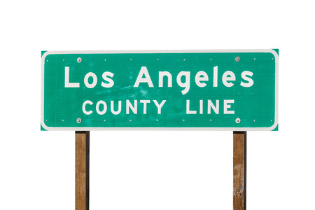 los angeles county: Los Angeles county line sign isolated on white. Stock Photo