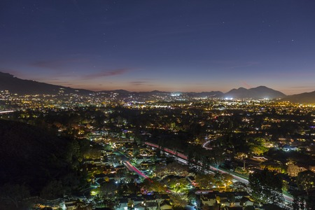 suburban: Night view of suburban Thousand Oaks near Los Angeles, California. Stock Photo