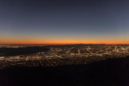 san fernando valley: Los Angeles mountain view twilight. Stock Photo