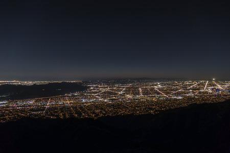 san fernando valley: Los Angeles night aerial cityscape.
