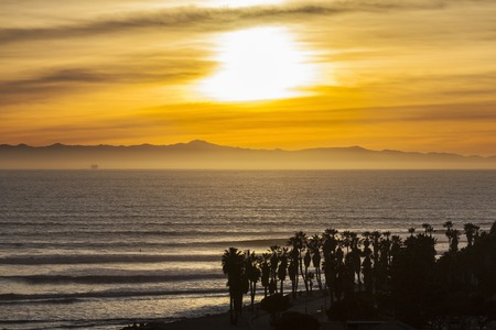 pacific ocean: Southern California pacific ocean sunset in scenic Ventura County. Stock Photo