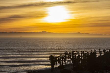 central california: Southern California pacific ocean sunset in scenic Ventura County. Stock Photo