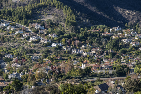 affluent: Upscale hillside homes in affluent Calabasas California. Stock Photo