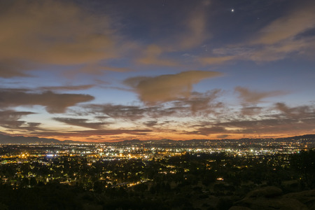 san fernando valley: Los Angeles winter sunrise viewed from the west San Fernando Valley.