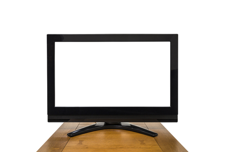 Modern television isolated on white with cut out screen. Banco de Imagens