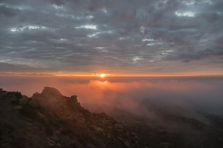 san fernando valley: Los Angeles foggy sunrise.  Shot from Rocky Peak above the San Fernando Valley. Stock Photo
