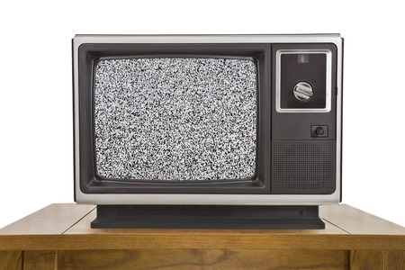 electronic 80s: Old television with static screen isolated on white. Stock Photo
