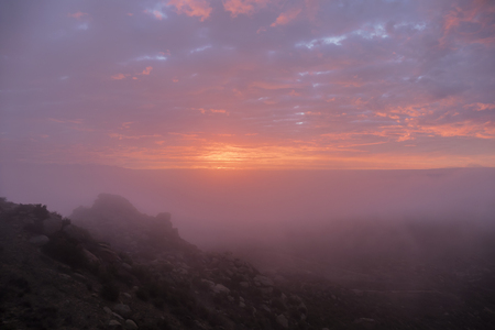 san fernando valley: Foggy sunrise in Los Angeles.  Shot from Rocky Peak above the San Fernando Valley.