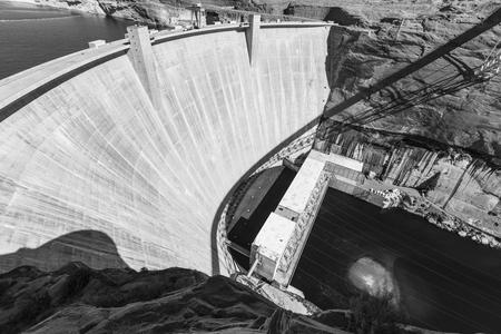 colorado river: Glen Canyon Dam on the Colorado river in Arizona black and white. Stock Photo