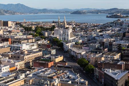 ave: San Francisco, California, USA - April 24, 2016:  Clear weekend morning view towards Columbus Ave at Broadway near San Francisco Bay. Editorial