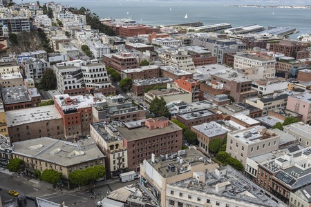 port jackson: San Francisco, California, USA - April 23, 2016:  Clear view toward the Jackson Square and Embarcadero areas of downtown San Francisco.