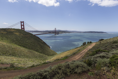 marin: View of the Golden Gate Bridge and San Francisco Bay from Marin Headlands in Golden Gate National Recreation Area.