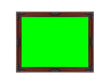 green screen: Wood picture frame on white with chroma key green screen. Stock Photo