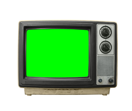 green screen: Grungy dirty old television on white with chroma key green screen.