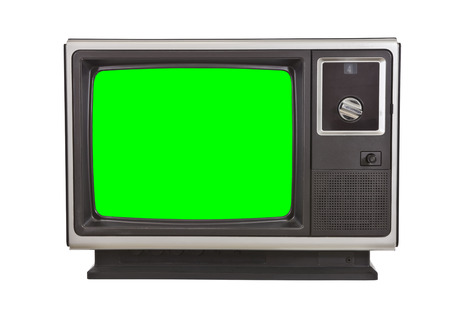green screen: Vintage television with chroma green screen isolated on white.