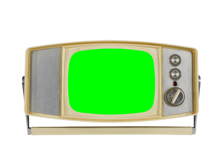 green screen: Vintage portable television on white with chroma green screen. Stock Photo