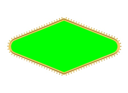 Las Vegas style diamond shape light bulb sign frame isolated with chroma green screen center. Stock Photo