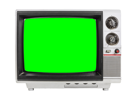 green screen: Old television isolated on white with chroma green screen.