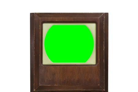 green screen: Vintage 1950s television with chroma green screen.