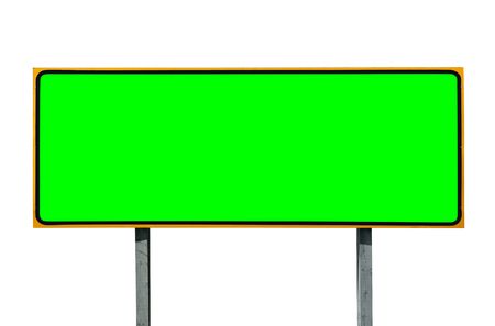 green screen: Big highway sign isolated on white with chroma green screen insert. Stock Photo