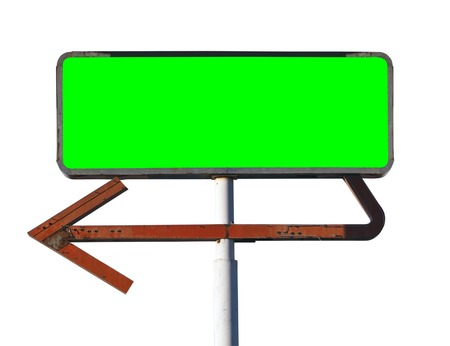 Vintage arrow sign isolated on white with chroma key green screen insert. Stock Photo