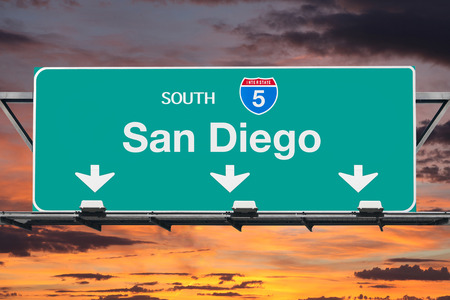 highway sign: San Diego Interstate 5 south highway sign with sunrise sky. Stock Photo