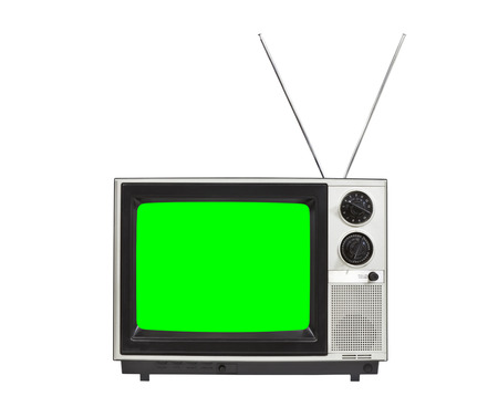 vintage television: Chroma green screen portable vintage television with antennas up.  Isolated on white.