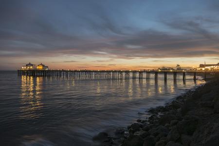 pacific ocean: Pacific ocean dusk at Malibu Pier near Los Angeles, California. Stock Photo