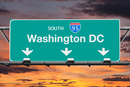 95: Washington DC Interstate 95 south highway sign with sunrise sky.