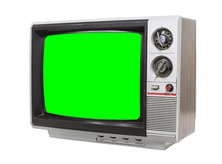 vintage television: Little vintage television isolated on white with chroma green screen.