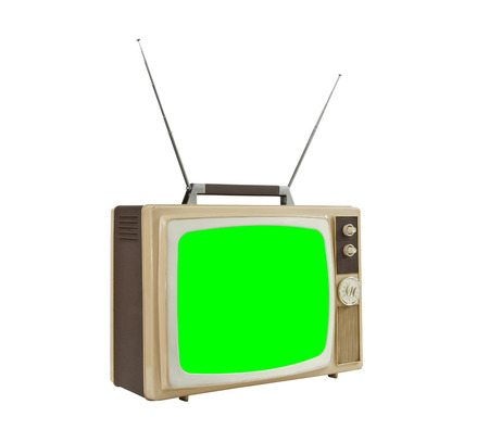 green screen: Vintage television with antennas and chroma green screen.
