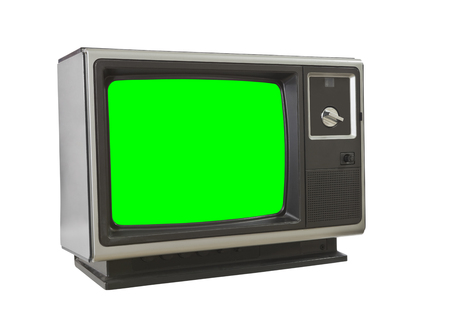 green screen: Vintage blank television isolated on white with chroma key green screen insert. Stock Photo