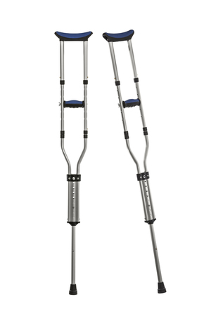 adjustable: Adjustable metal crutches isolated on white.