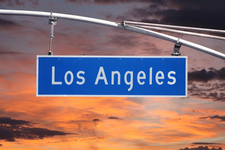 street sign: Los Angeles street sign with sunrise sky.