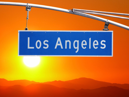 monica: Los Angeles street sign and Santa Monica Mountains Sunset