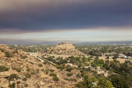 stoney point: Fire smoke sky over Stoney Point and the San Fernando Valley in Los Angeles, Califorinia. Stock Photo