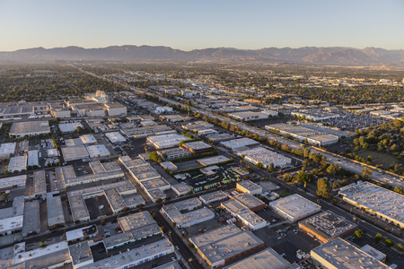 san fernando valley: Late afternoon aerial above Van Nuys in the San Fernando Valley area of Los Angeles, California. Stock Photo