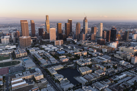 Dusk aerial of downtown Los Angeles, California.