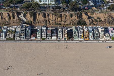 monica: Santa Monica, California, USA - August 6, 2016:  Aerial of eclectic housing along Santa Monica beach near Los Angeles.