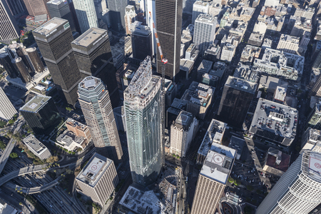 western united states: Los Angeles, California, USA - August 6, 2016:  Wilshire Grand Center in downtown Los Angeles nears completion.  The 1100 foot tall building is the tallest tower in western United States.