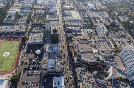 bl: Los Angeles, California, USA - August 6, 2016:  Aerial view of Hollywood Blvd near Highland Av in Hollywood, California.