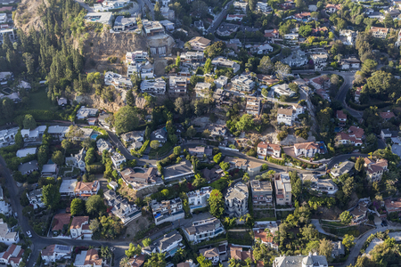 hollywood hills: Los Angeles, California, USA - August 6, 2016:  Aerial view of fashionable hillside homes near Laurel Canyon in the hills above West Hollywood.