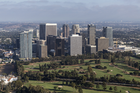 Afternoon aerial view of Century City area of Los Angeles, California. Stock Photo